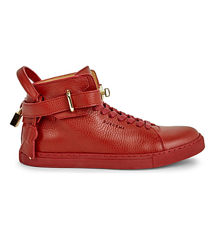 BUSCEMI Gold clasp mid-top leather trainers (Red