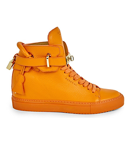 BUSCEMI Crocodile-grained leather high-top trainers (Orange