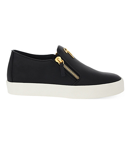 GIUSEPPE ZANOTTI Reneta zipped leather trainers (Black