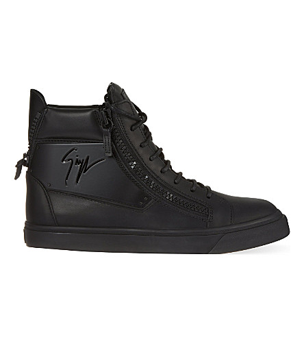 GIUSEPPE ZANOTTI Leather high-top trainers (Black