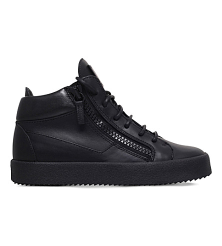 GIUSEPPE ZANOTTI Kriss mid top leather trainers (Black