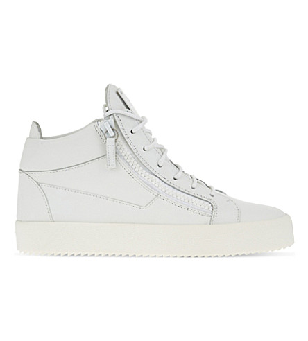 GIUSEPPE ZANOTTI Mid-top leather trainers (White