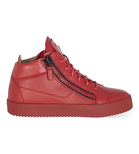 GIUSEPPE ZANOTTI Mid top leather trainers (Red