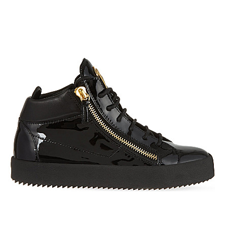 GIUSEPPE ZANOTTI Mid-top leather trainers (Black
