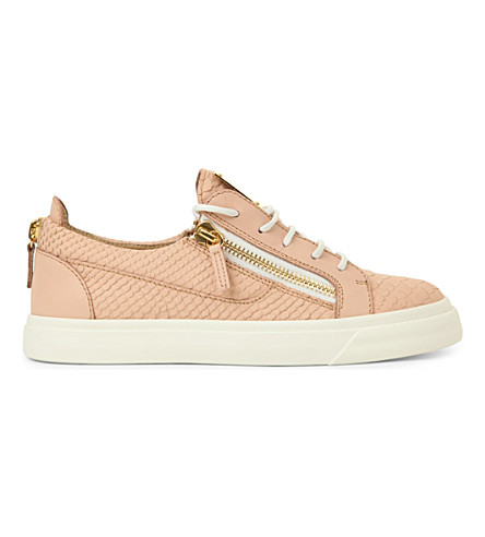 GIUSEPPE ZANOTTI Bucks snakeskin-embossed leather low-top trainers (Pale+pink