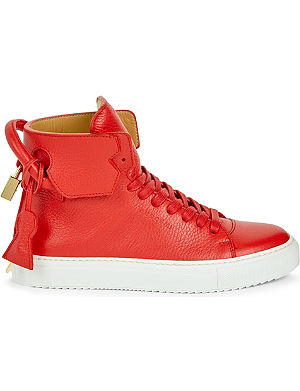 BUSCEMI Grained-leather high-top trainers