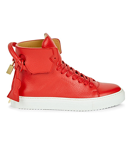 BUSCEMI Grained-leather high-top trainers (Red