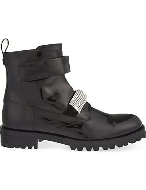 CHRISTOPHER KANE Crystal patent biker boots