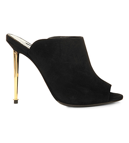 TOM FORD Antoinette suede peep-toe mules (Black
