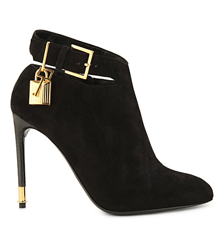 TOM FORD Suede padlock ankle boots (Black