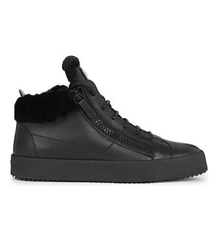 GIUSEPPE ZANOTTI Ruffo faux fur-lined leather trainers (Black