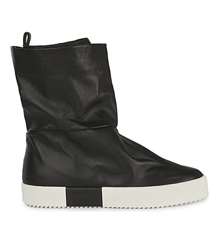 GIUSEPPE ZANOTTI Slouchy leather trainer boots (Blk/white