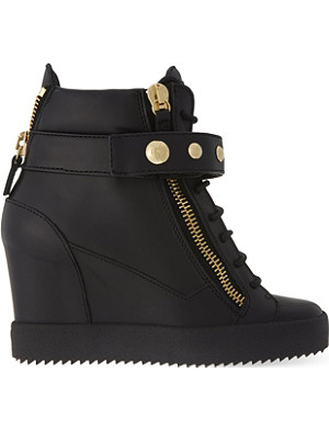 GIUSEPPE ZANOTTI Studded band wedge high-top trainers