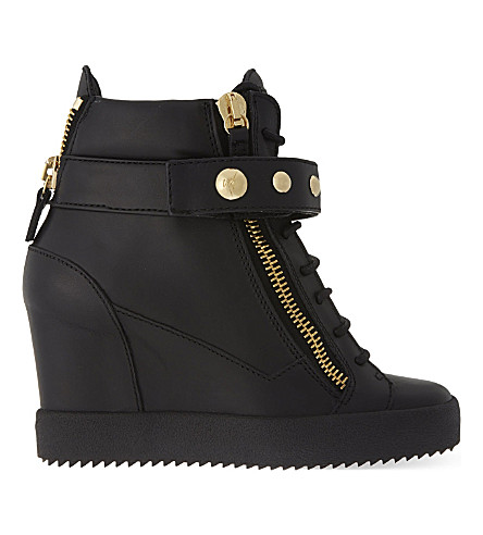 GIUSEPPE ZANOTTI Studded band wedge high-top trainers (Black