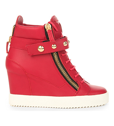 GIUSEPPE ZANOTTI Studded band leather wedge trainers (Red