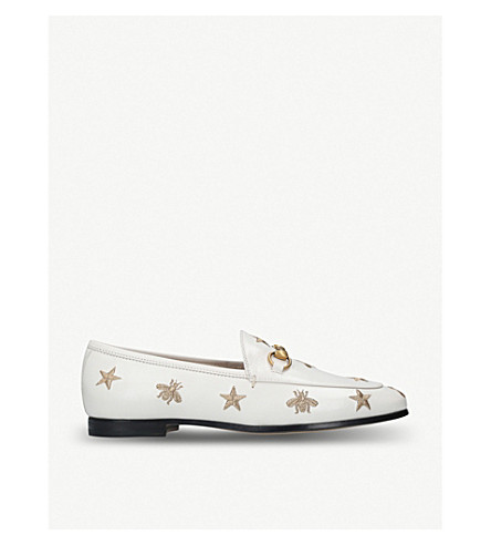 GUCCI Jordaan embroidered leather loafers (White