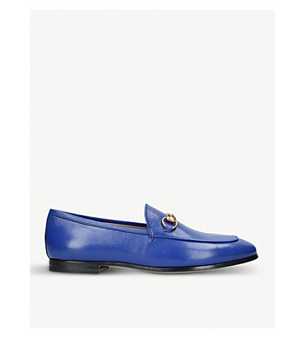 GUCCI Jordaan leather loafers (Mid+blue