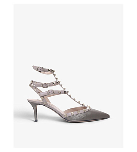VALENTINO Rockstud 65 leather t-bar courts (Bronze+com