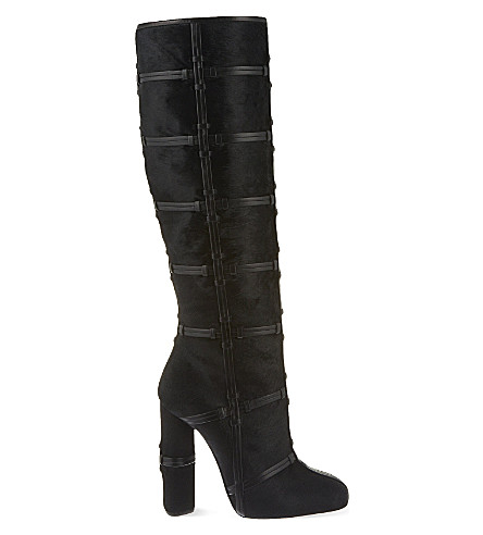 TOM FORD Panelled leather knee-high boots (Black