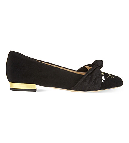 CHARLOTTE OLYMPIA Eccentric Kitty suede ballet flats (Black