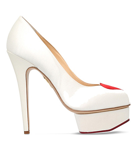 CHARLOTTE OLYMPIA Delphine satin heeled platforms (White/red