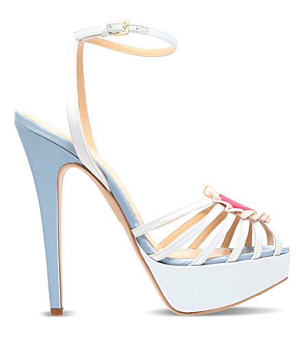 CHARLOTTE OLYMPIA Forever leather and satin heeled sandals (Pale blue