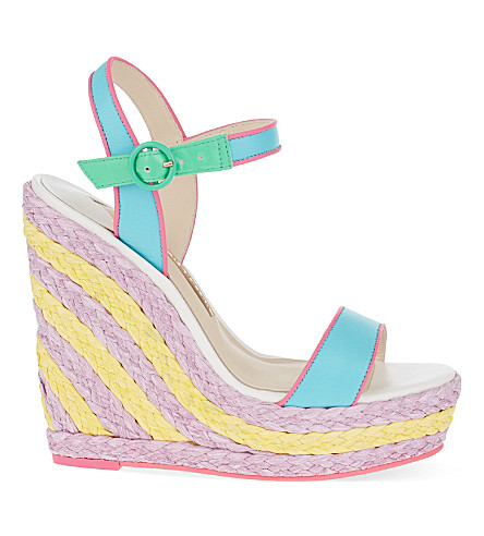 SOPHIA WEBSTER Lucita woven wedge sandals (Blue other