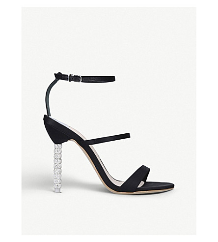 SOPHIA WEBSTER Rosalind crystal satin heeled sandals (Black