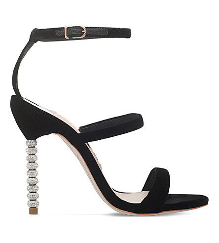SOPHIA WEBSTER Rosalind crystal-embellished velvet sandals (Black