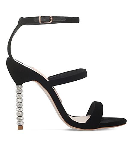 SOPHIA WEBSTER 罗莎琳德水晶天鹅绒凉鞋 (黑色