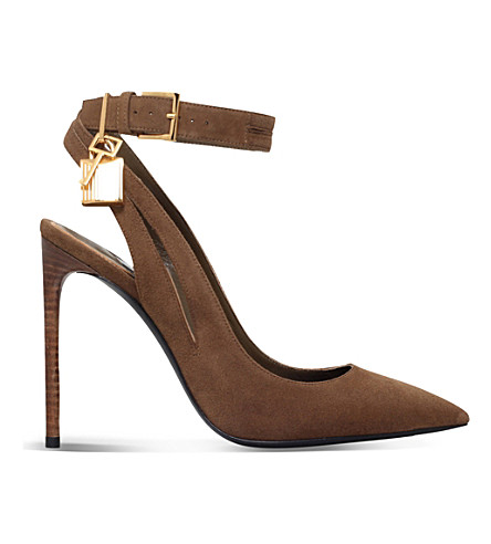 TOM FORD Padlock-detail suede heeled courts (Bronze
