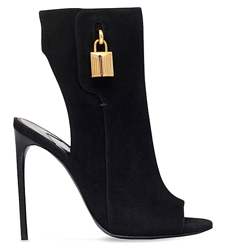 TOM FORD Padlock-detail suede ankle boots (Black