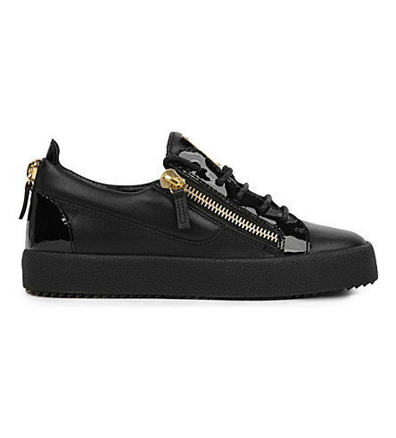 GIUSEPPE ZANOTTI Bucks leather low-top trainers (Black