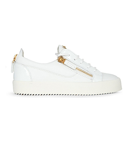 GIUSEPPE ZANOTTI 雄鹿低皮革运动鞋 (白色
