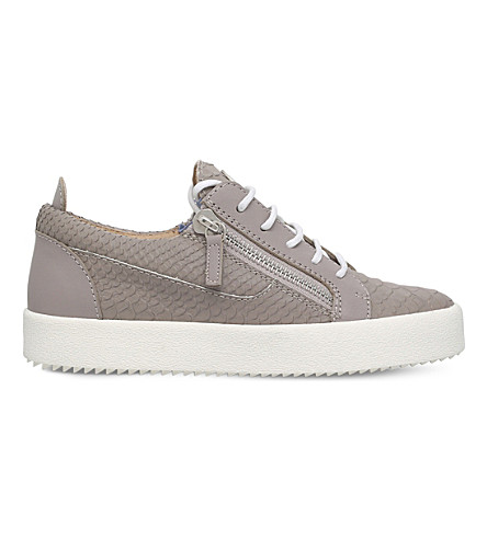 GIUSEPPE ZANOTTI Nicki leather low-rise trainers (Grey