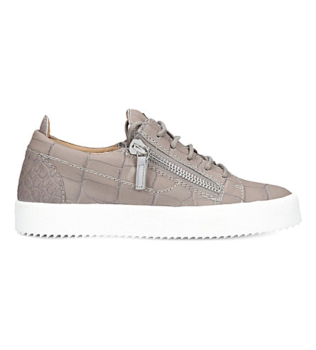 GIUSEPPE ZANOTTI Nicki leather low-rise trainers (Grey/light