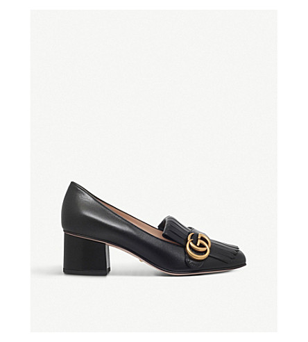 GUCCI Marmont 55 leather mid-heel loafers (Black