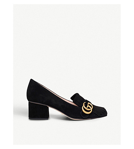 GUCCI Marmont fringed suede loafers (Black