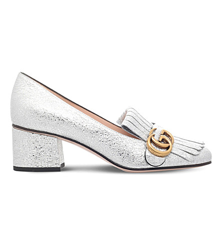 ddbd577d07b7e GUCCI Marmont 55 metallic-leather loafers (Silver