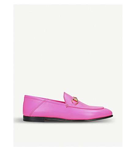 c31dfbe96e1 GUCCI Brixton collapsible leather loafers (Fushia