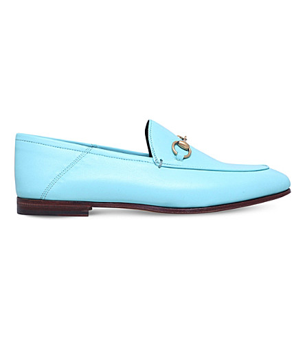 GUCCI Brixton horsebit leather loafers (Pale+blue
