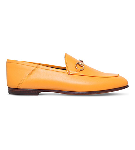 GUCCI Brixton horsebit leather loafers (Yellow