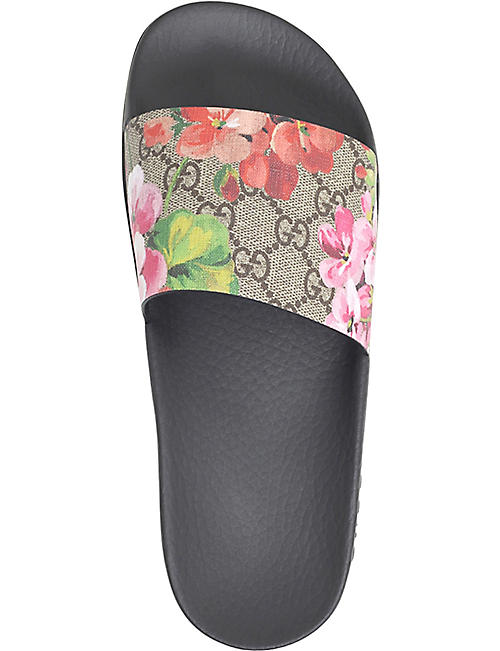 GUCCI Pursuit floral-print leather sliders