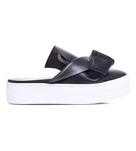 NO 21 Bow leather mule skate shoes (Black