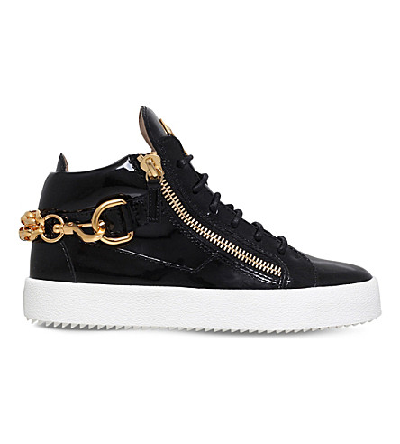 GIUSEPPE ZANOTTI Doodle chain-embellished patent-leather trainers (Black