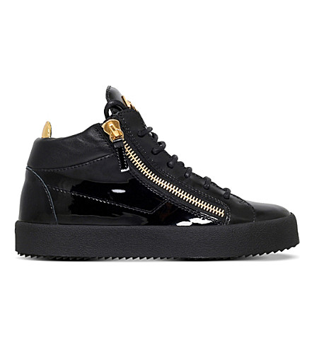 GIUSEPPE ZANOTTI Mid top leather trainers (Black