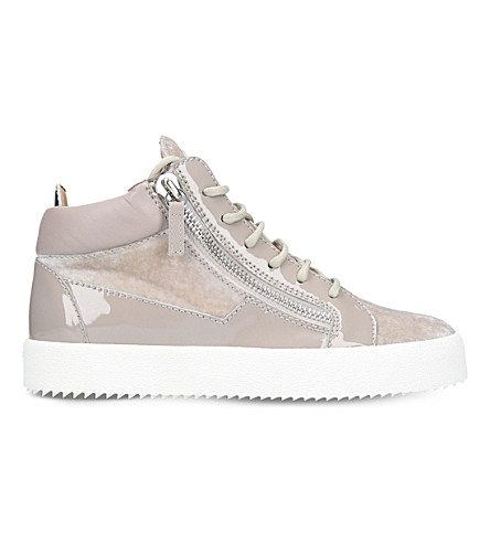 GIUSEPPE ZANOTTI Mid-top velvet and leather trainers (Grey