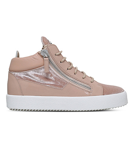 GIUSEPPE ZANOTTI Mid-top velvet and leather trainers (Pale+pink
