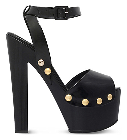 GIUSEPPE ZANOTTI Plato patent leather clog sandals (Black