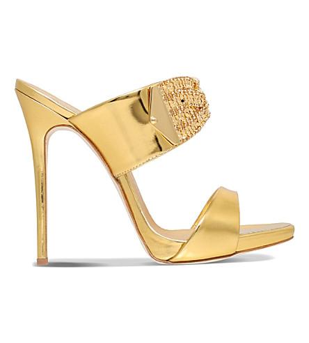GIUSEPPE ZANOTTI Twist crystal-embellished 120 leather mule sandals (Gold